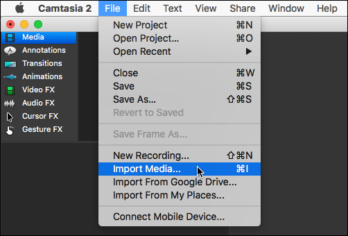 Camtasia file menu open with import media selected