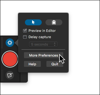 Snagit one click preferences dialogue open
