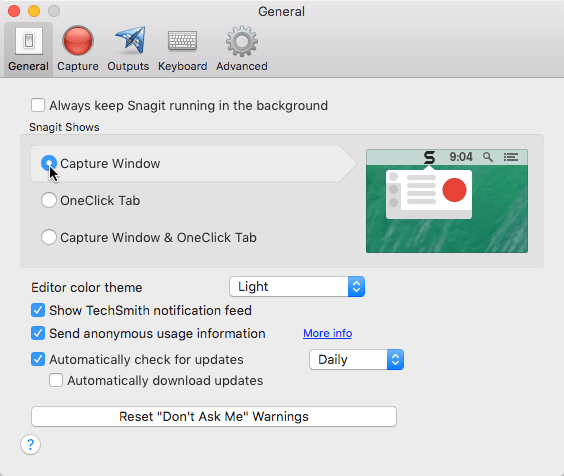 Snagit preferences panel with capture window enabled