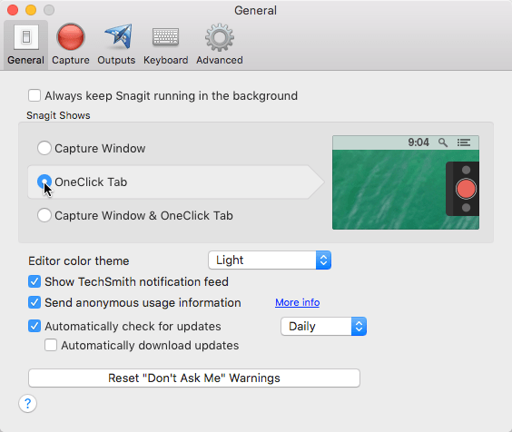 Snagit preferences with the one click option enabled