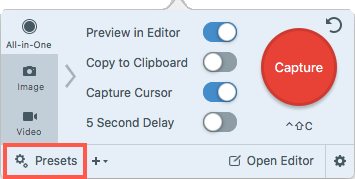 Capture window with the presets button highlighted