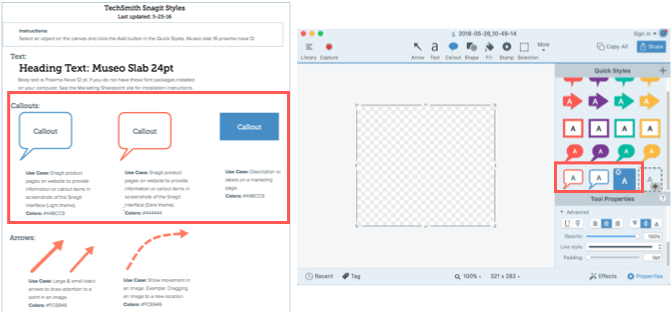 Snagit UI side-by-side with a style guide