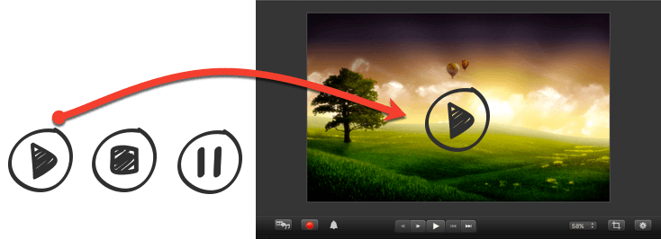 Snagit image open in camtasia with player buttons drawn on