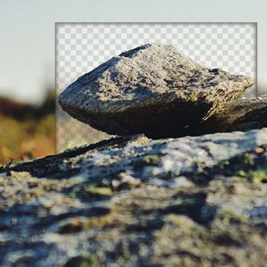 rock in front of canvas interface