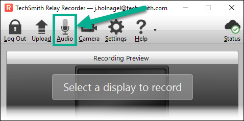 TechSmith Relay Recorder with the Audio button highlighted