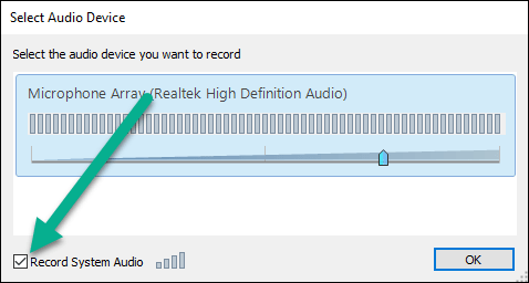 Select Audio Device popup window with Record System Audio highlighted