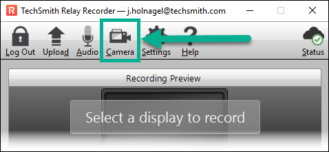 TechSmith Relay Recorder with the Camera button highlighted