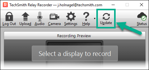 Isolated Update button from the TechSmith Relay Recorder