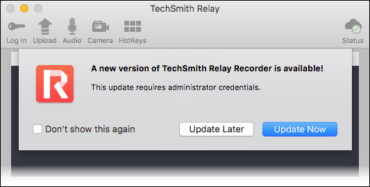 Update notification in the Mac TechSmith Relay Recorder