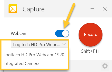 TechSmith Capture Enable Webcam