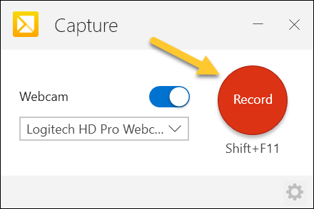 TechSmith Capture Record Button