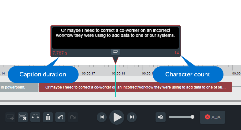 Selected caption that is too long and has too many characters. Callouts identify where the duration is displayed on the left and the character count on the right.