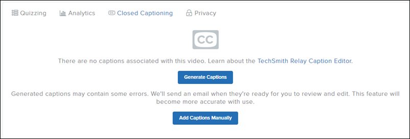 Cloed captioning tab open displaying Generate Captions and Edit Captions Manually buttons.