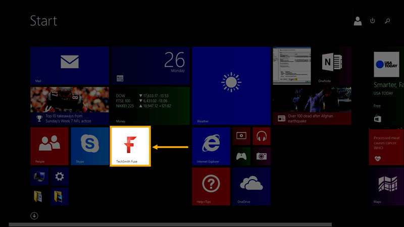 Windows start screen with TechSmith Fuse