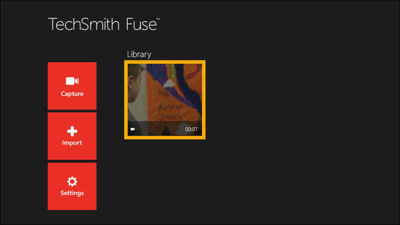 TechSmith Fuse library with newly imported video.