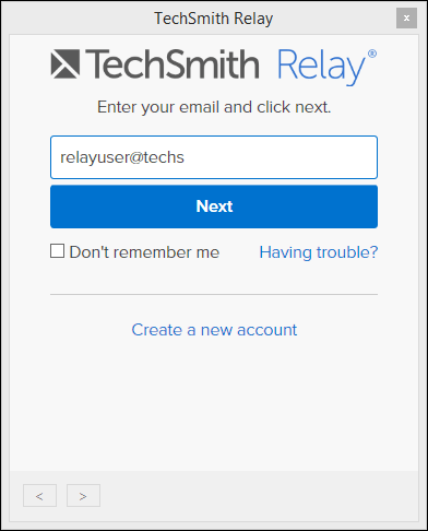 TechSmith Relay Camtasia sign in