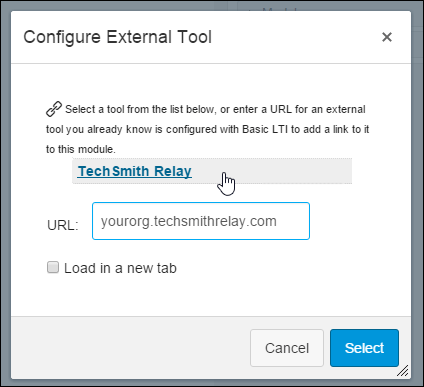 Selecting TechSmith Relay from the configure external tool dialog.