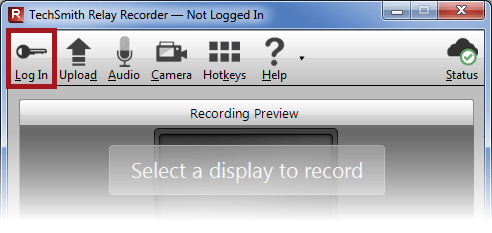 TechSmith Relay Recorder with the Log In button highlighted