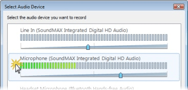 Select Audio Device popup window