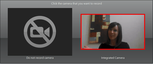 Camera selection popup with the Integrated Camera preview selected