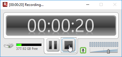 TechSmith Relay Recorder Pause and Stop recording controls