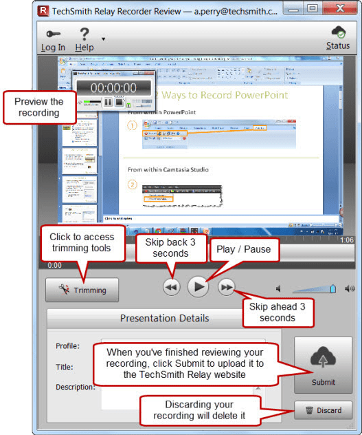 TechSmith Relay Recorder Review window with various elements highlighted with text annotations