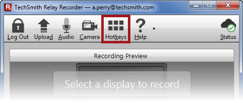 TechSmith Relay Recorder interface with the Hotkeys button highlighted