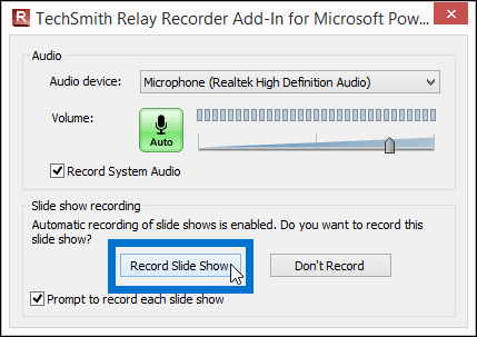 TechSmith Relay recording settings