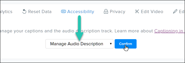 Screenshot of the Accessibility tab in TechSmith Relay, with the Manage Audio Description option highlighted
