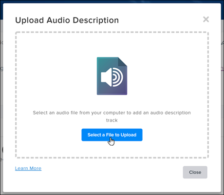 Screenshot of the TechSmith Relay Audio Description File upload modal window