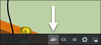 Screenshot of the TechSmith Relay video player, with the AD Track toggle button highlighted