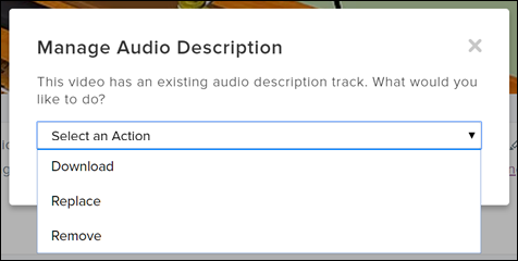 Screenshot of the Manage Audio Description modal dialog in TechSmith Relay