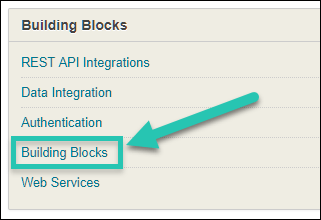 Screenshot of Blackboard System Admin section, with the Building Blocks option highlighted