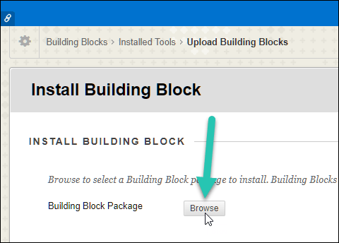Installed Building Blocks option with the Browse button highlighted