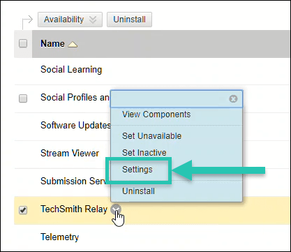 Screenshot of the TechSmith Relay options menu in Blackboard, with the Settings option highlighted