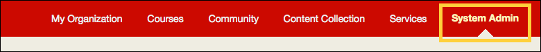 System Admin tab