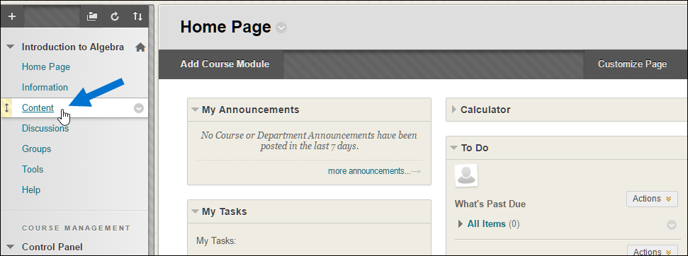 Blackboard interface selecting Content from the control panel