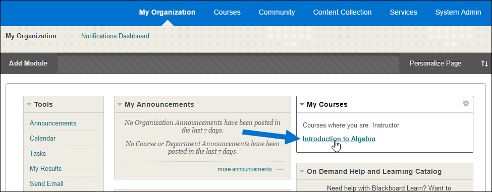 Blackboard interface selecting from a list of courses
