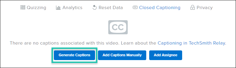 Screenshot of the video Closed Captioning options with the Generate Captions button highlighted