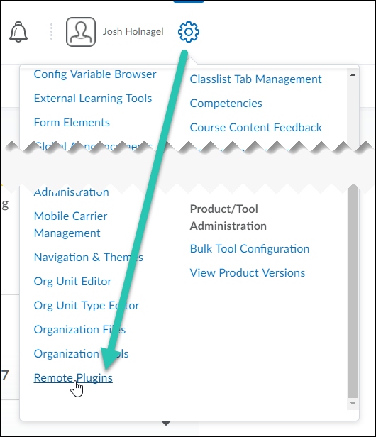 Brightspace Admin Tools menu, expanded with the Remote Plugins option highlighted