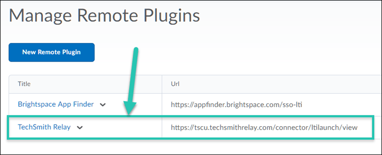 Manage Remote Plugins screen, with TechSmith Relay remote plugin highlighted