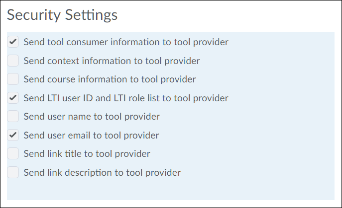 Screenshot of tool provider security settings