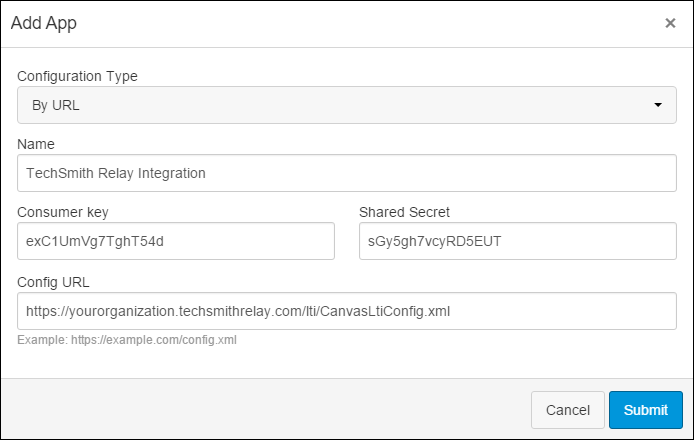 LTI configuration settings dialog for entering information