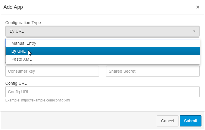 Configuration type drop down selecting By URL