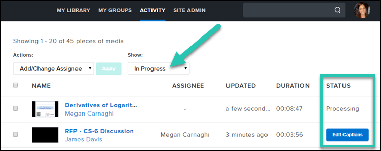 Screenshot of a users' Activity tab, with the In Progress filter highlighted