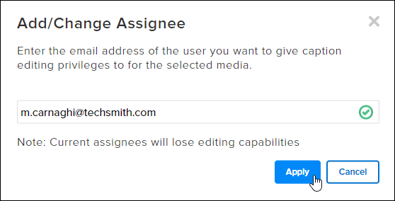 Screenshot of the Add/Change Assignee dialog box