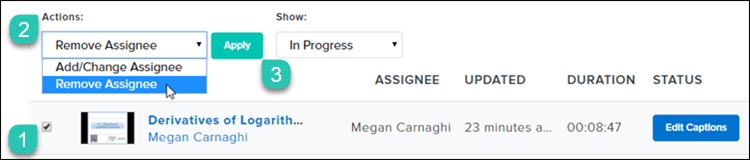 Screenshot of the Activity view with the Remove Assignee option selected in the drop down menu