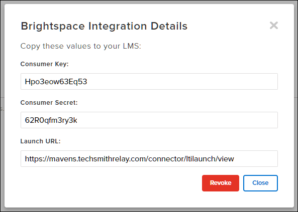 Brightspace integration details to be entered into the LMS