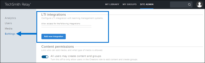Arrow pointing to Settings tab and LTI Integrations section outlined by a rectangle