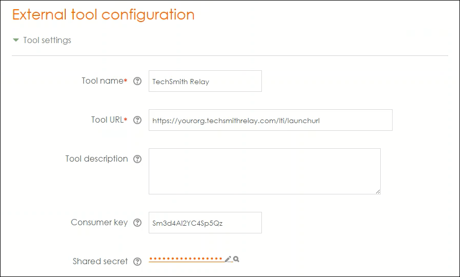 Screenshot of Moodle External tool configuration options